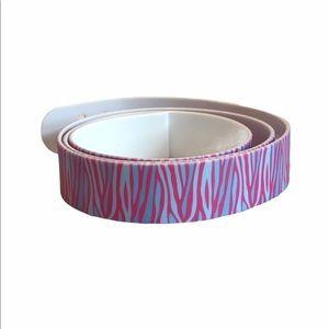 C4 Belt Pink & Blue Zebra Print w/Purple Buckle